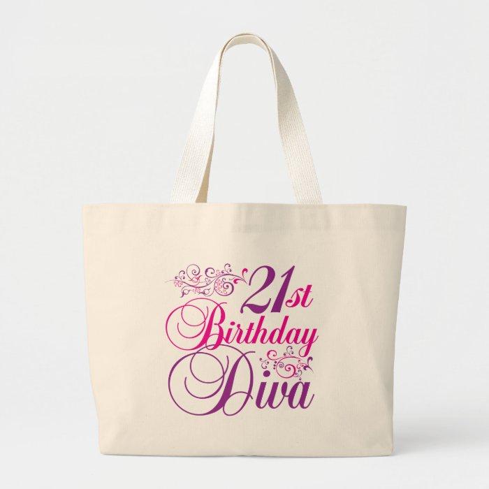 21st Birthday Diva Large Tote Bag