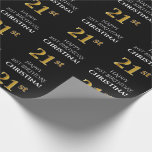 [ Thumbnail: 21st Birthday: Elegant, Black, Faux Gold Look Wrapping Paper ]