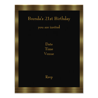 21st Birthday Elegant Black Gold Circle Stripes Card