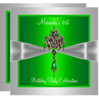 21st Birthday Elegant Lime Green Silver White Bow Card