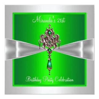 21st Birthday Elegant Lime Green Silver White Bow Card