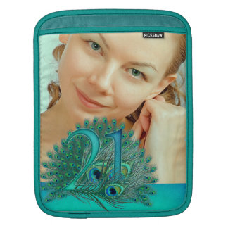 21st birthday elegant peacock feather photo sleeve sleeves for iPads