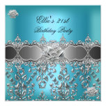 21st Birthday Elegant Teal Blue Silver Floral Invites