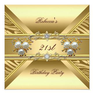 21st  Birthday Elegant Zebra Gold Pearl Jewels Card