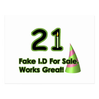 21st Birthday Fak I.D. Postcard