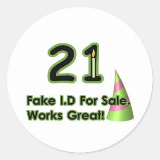 21st Birthday Fak I.D. Round Sticker