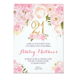 21st birthday Floral Invitation, Card