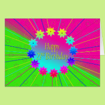 21st Birthday - Flower Ring of Colors Card