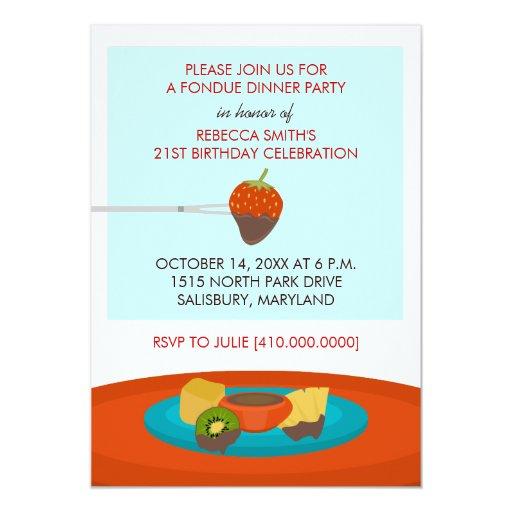 40th Birthday Dinner Ideas: 21st Birthday Fondue Dinner Party Invitations