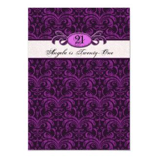 21st Birthday for a Gothic Girl, Fuschia Damask Card