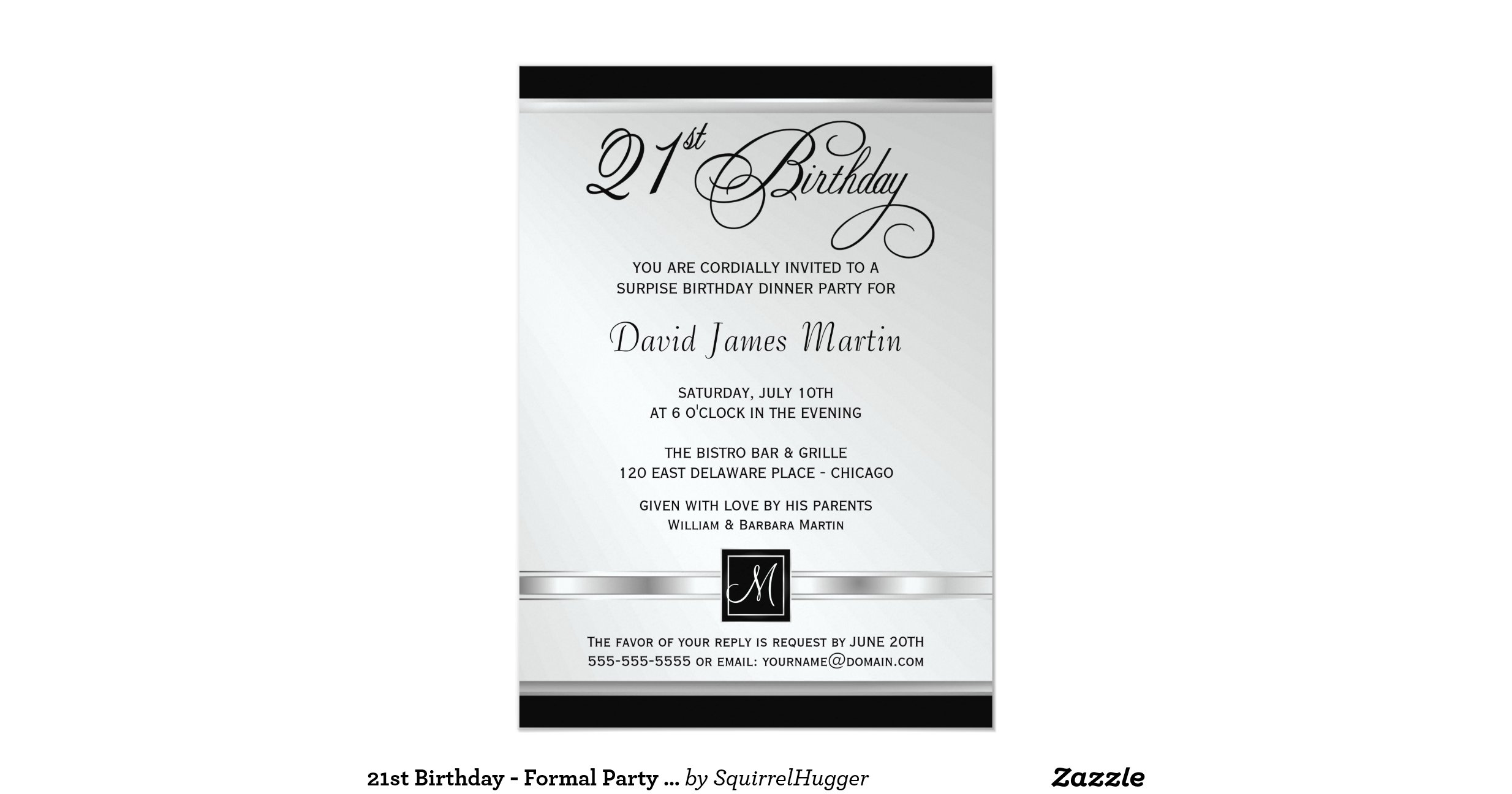 50th Birthday Party Invitations Formal Black Gold Zazzle Black And ...