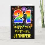 [ Thumbnail: 21st Birthday: Fun Fireworks Pattern + Rainbow 21 Card ]