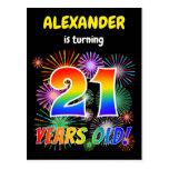 "[ Thumbnail: 21st Birthday - Fun Fireworks, Rainbow Look ""21"" Postcard ]"