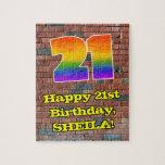[ Thumbnail: 21st Birthday: Fun Graffiti-Inspired Rainbow 21 Jigsaw Puzzle ]