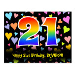 [ Thumbnail: 21st Birthday: Fun Hearts Pattern, Rainbow 21 Postcard ]