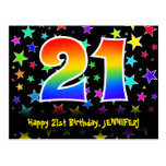 [ Thumbnail: 21st Birthday: Fun Stars Pattern, Rainbow 21, Name Postcard ]