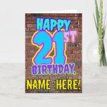 [ Thumbnail: 21st Birthday - Fun, Urban Graffiti Inspired Look Card ]