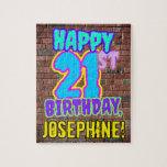 [ Thumbnail: 21st Birthday ~ Fun, Urban Graffiti Inspired Look Jigsaw Puzzle ]