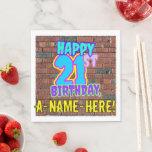 [ Thumbnail: 21st Birthday ~ Fun, Urban Graffiti Inspired Look Napkins ]