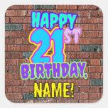 [ Thumbnail: 21st Birthday – Fun, Urban Graffiti Inspired Look Sticker ]