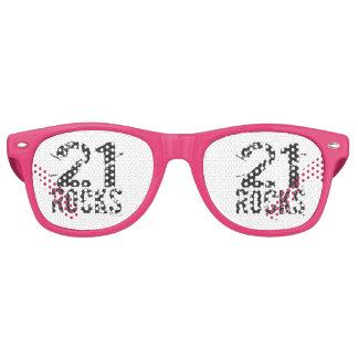 21st Birthday Gag Gift Pink - 21 Rocks Retro Sunglasses