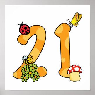 21st Birthday (Garden Theme) Print