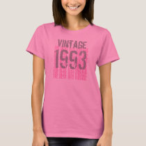 21st Birthday Gift 1993 Vintage Pink and Gray T-Shirt