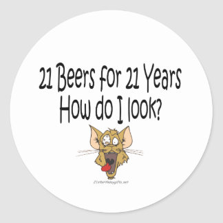 21st Birthday Gifts 21 Beers for 21 Years Classic Round Sticker