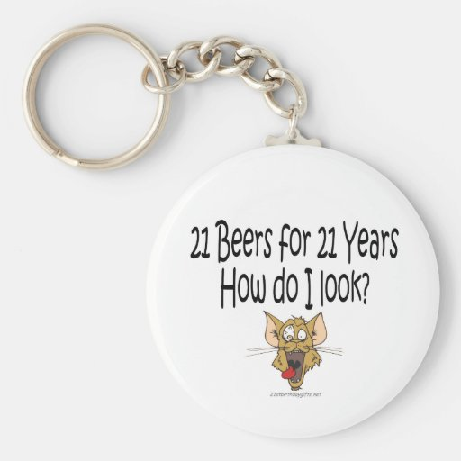 21st Birthday Gifts 21 Beers for 21 Years Key Chains