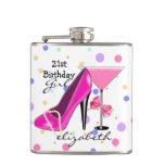 21st Birthday Girl Pink High Heel Personalized Hip Flasks