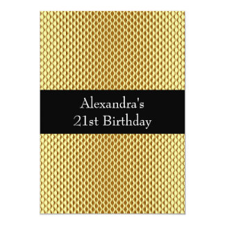 21st Birthday Glam Gold Metal Glitter Event 2 Card