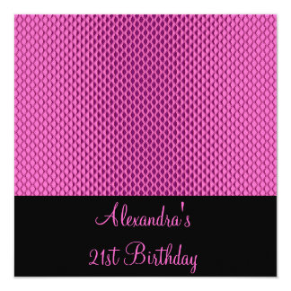 21st Birthday Glam Hot Pink Metal Glitter Event Card