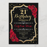 """21st Birthday - Gold Black Red Roses Invitation<br><div class=""""desc"""">21st birthday celebration invitation. Elegant black design with faux glitter gold and red roses. Perfect for an elegant birthday party. Can be customized into any age.</div>"""