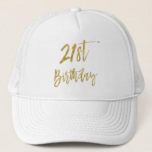 21st Birthday Gold Foil And White Trucker Hat