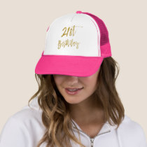 21st Birthday Gold Foil and White Trucker Hat