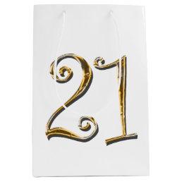 21st birthday gold white elegant medium gift bag