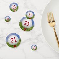 21st birthday golf ball on red tee confetti