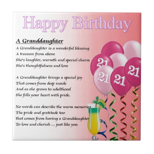 21st Birthday Granddaughter Poem Ceramic Tile