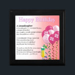 "21st Birthday Granddaughter Poem Keepsake Box<br><div class=""desc"">A great gift for a granddaughter on her 21st birthday</div>"