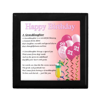 21st Birthday Granddaughter Poem Keepsake Boxes