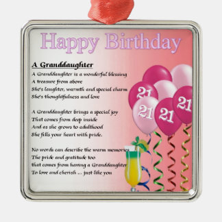 21st Birthday Granddaughter Poem Silver-Colored Square Decoration