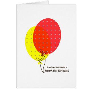 21st Birthday Grandniece Cards, Colorful Ballooon Card