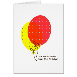 21st Birthday Grandniece Cards, Colorful Ballooon Greeting Card