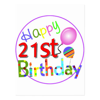 21st birthday greetings postcard