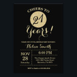 """21st Birthday Invitation Black and Gold Glitter<br><div class=""""desc"""">21st Birthday Invitation Black and Gold Glitter Card. For further customization,  please click the """"Customize it"""" button and use our design tool to modify this template.</div>"""