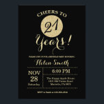 "21st Birthday Invitation Black and Gold Glitter<br><div class=""desc"">21st Birthday Invitation Black and Gold Glitter Card. For further customization,  please click the ""Customize it"" button and use our design tool to modify this template.</div>"