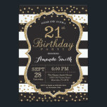 "21st Birthday Invitation. Black and Gold Glitter Invitation<br><div class=""desc"">21st Birthday Invitation for women or man. Black and Gold Birthday Party Invite. Gold Glitter Confetti. Black and White Stripes. Printable Digital. For further customization,  please click the ""Customize it"" button and use our design tool to modify this template.</div>"