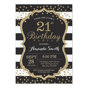 21st Birthday Invitation. Black and Gold Glitter Invitation
