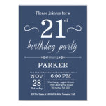21st Birthday Invitation Blue