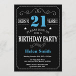 """21st Birthday Invitation Blue and Black Chalkboard<br><div class=""""desc"""">21st Birthday Invitation Blue and Black Typography. Chalkboard. Black and White Background. Adult Birthday. Male Men or Women Birthday. Kids Boy or Girl Lady Teen Teenage Bday Invite. 13th 15th 16th 18th 20th 21st 30th 40th 50th 60th 70th 80th 90th 100th. Any Age. For further customization, please click the """"Customize...</div>"""